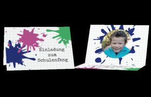 Einladungskarte - Farbkleckse