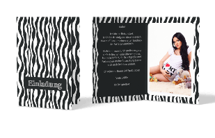 Einladungskarte - Zebra